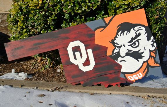 Osu Ou Bedlam House Divided Oklahoma State Cowboys Oklahoma Sooners Pistol Pete Wooden Signs Diy Painted Wood Walls Western Christmas