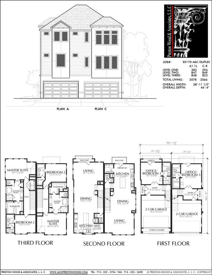This Duplex Townhome Plan Has A Combined 4144 Square Ft Of Living Space This Duplex Townhouse Plan House Layout Plans Custom Floor Plans Duplex House Design
