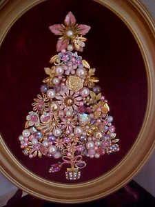 Dazzling Vintage Flower Jewels Framed Christmas Tree~Pink~Lavenders~Rhinestones