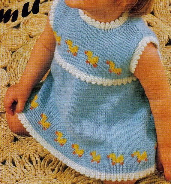 Vintage Digital Pattern to Knit - Baby Girl Sundress - Just Ducky ...