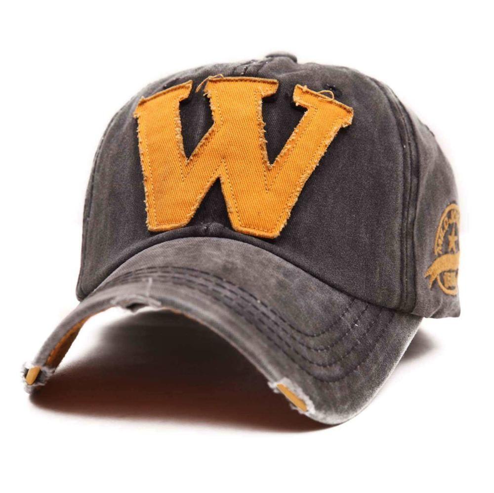 742fda3ec3b Cotton Embroidery Letter W Baseball Cap Snapback Caps Bone Sports Hat  Distressed Wearing Style Outdoor Hat For Men Custom Hats