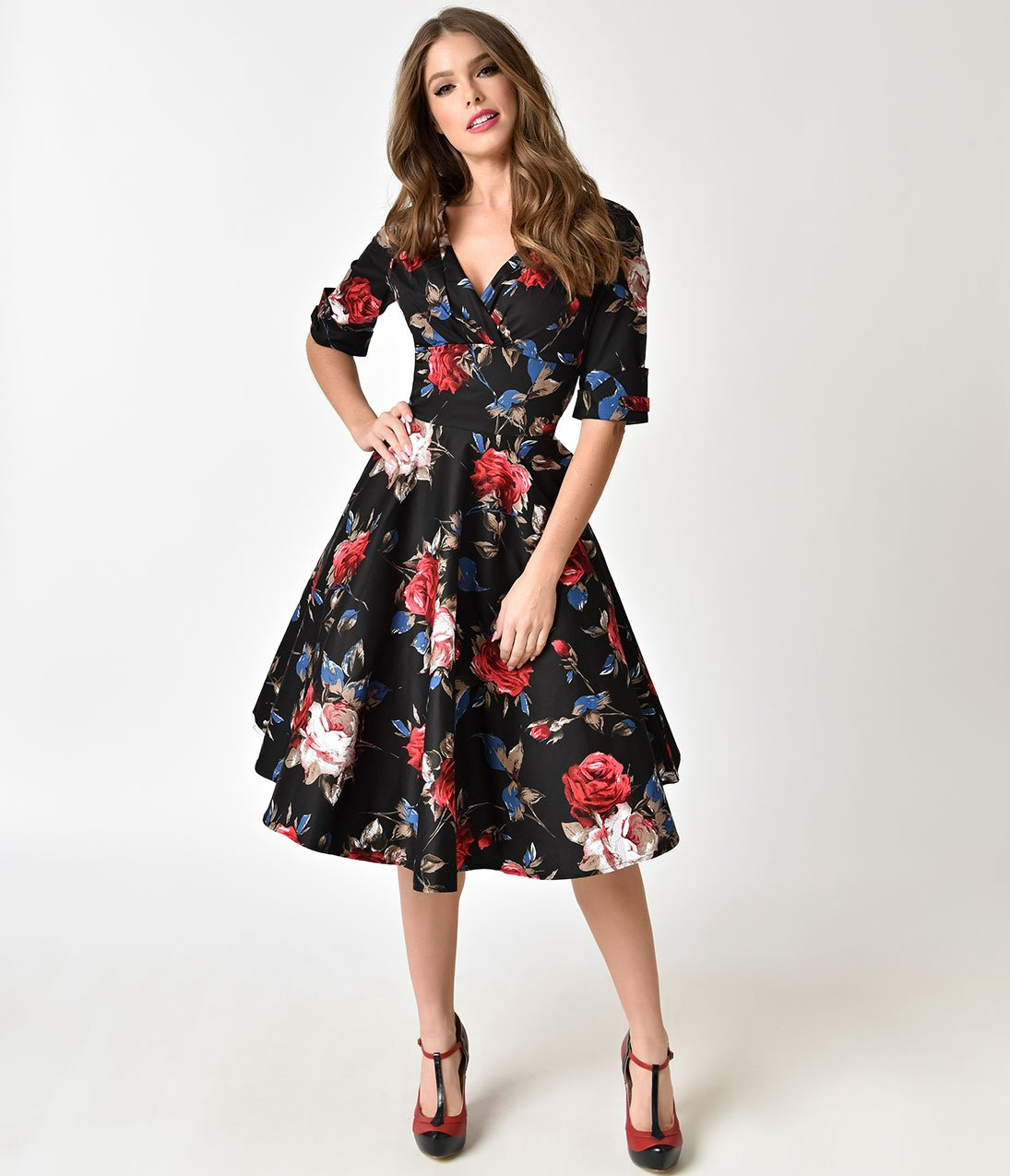 94618c174 Unique Vintage 1950s Black & Red Floral Delores Swing Dress with Sleeves