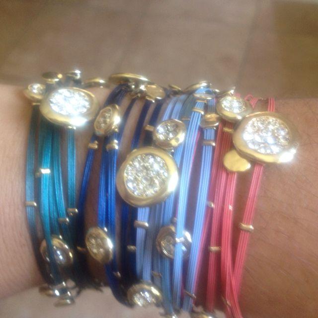 Beautiful, colorful blinged out bracelets @midtownglam $10.00 each set #bracelets#fashionjewelry#trends