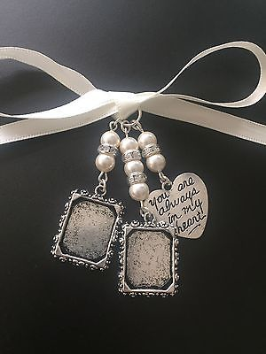 Gorgeous Bridal Bouquet Double Photo Frame Memory Charm Wedding With