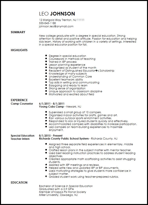 Free Entry Level Special Teacher Resume Template Education History