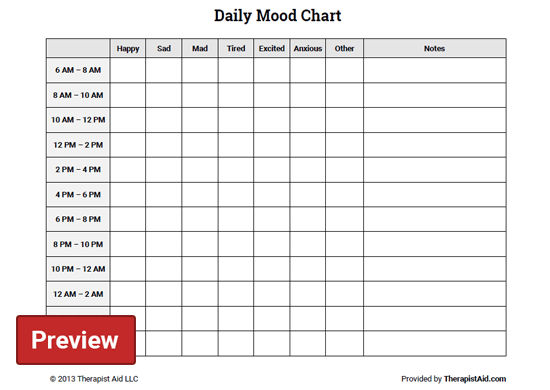 daily mood chart  worksheet