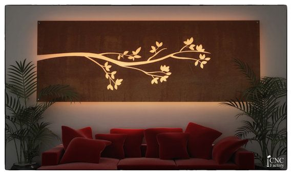 WALL LIGHT PANEL silhouette cnc template cutting by CncFactory | Cnc router | Cnc cutting design ...