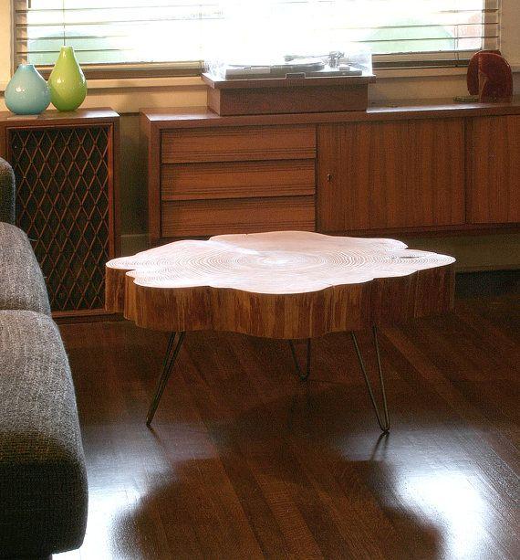 Reserved Mid Century Modern Lane Burl Wood Surfboard Coffee: Nimbus Cloud Coffee Table