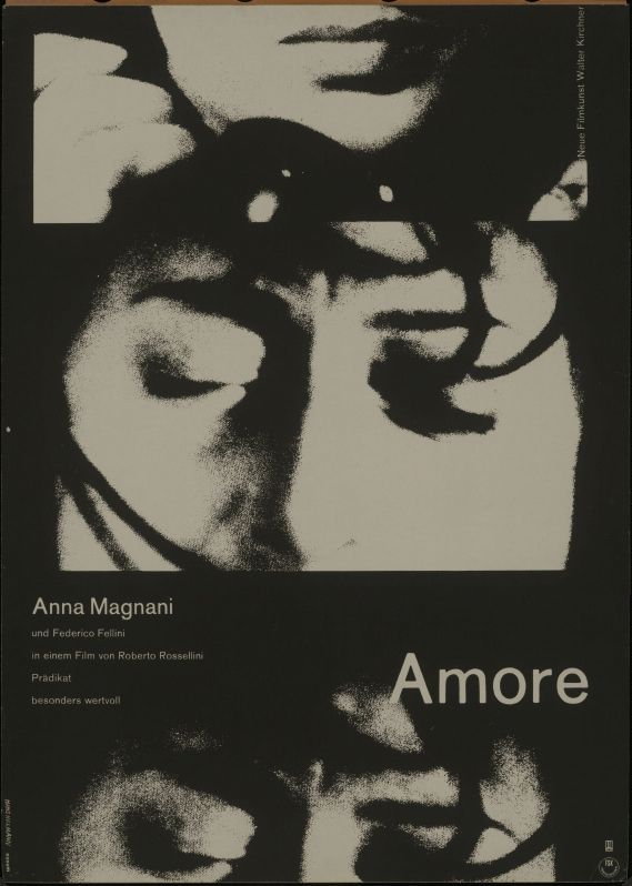 Hans Hillmann, film Poster for Amore by Fellini, starring Anna Magnani, 1962. © Foto: Kunstbibliothek der Staatlichen Museen zu Berlin - Preußischer Kulturbesitz