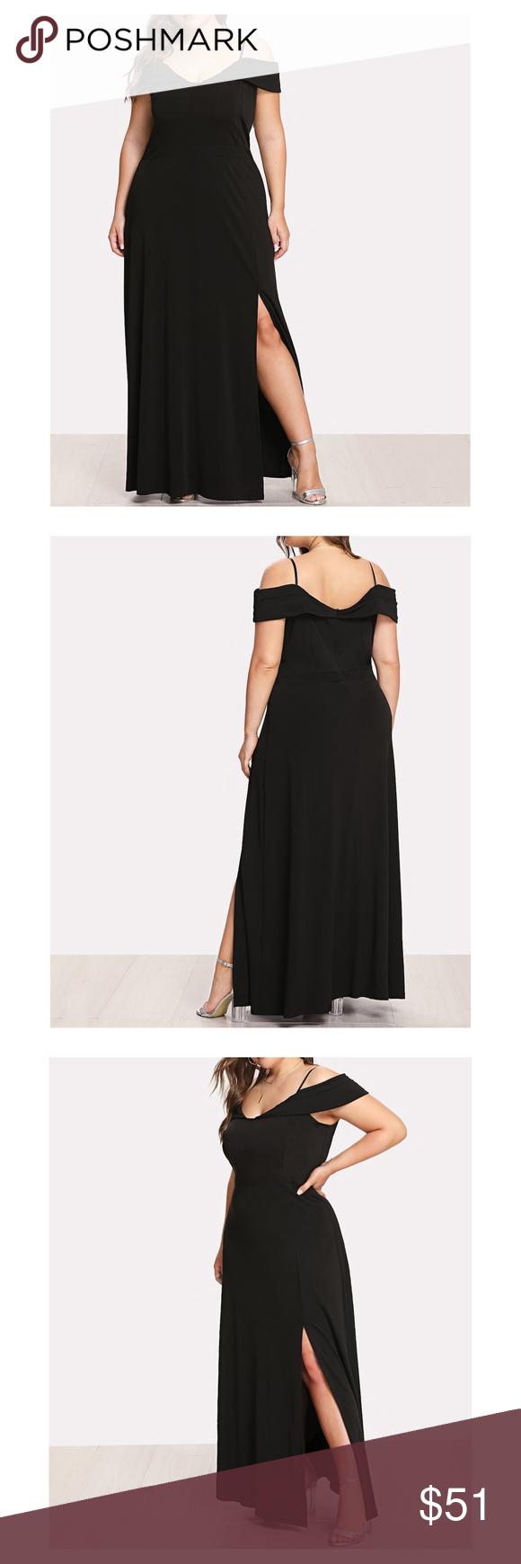Photo of Black Cap Sleeve Side Slit Plus Size Maxi Dress V Neckline Spaghe