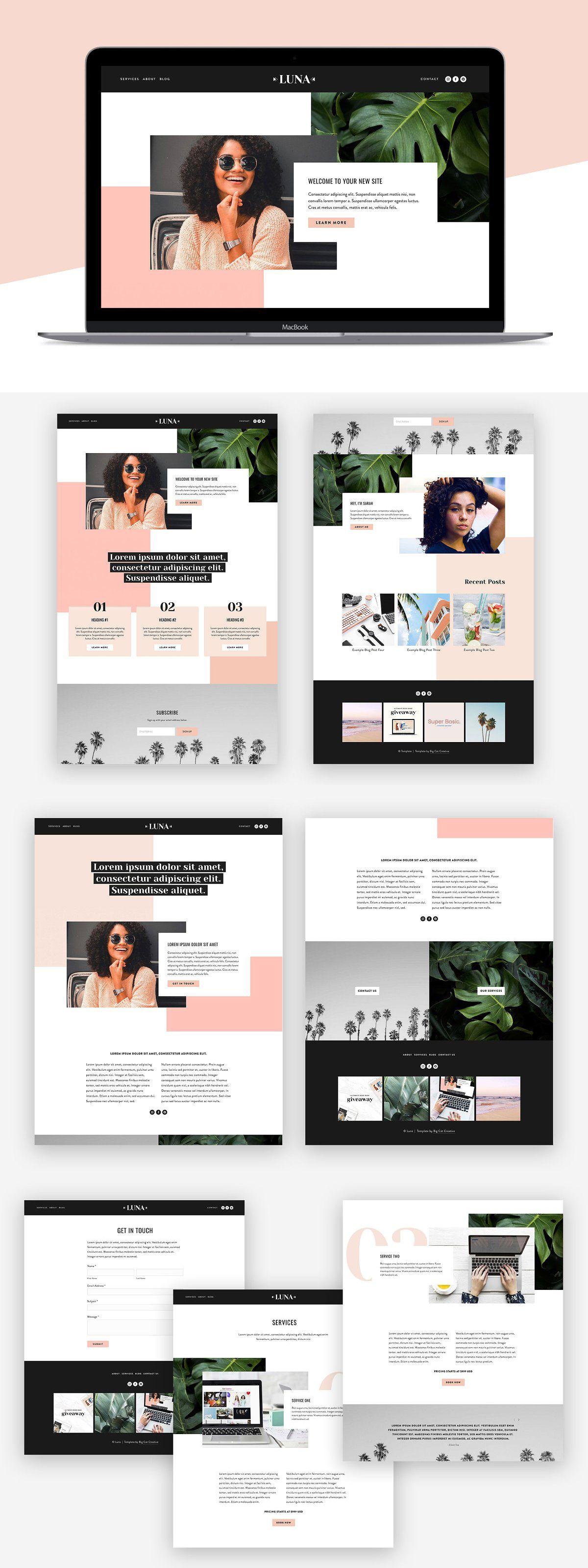 Squarespace Template Luna Wordpress Web Design Website Design Wordpress Squarespace Templates