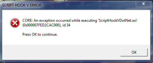 an exception occured while executing scripthookvdotnet asi can