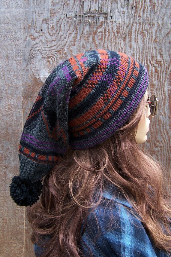 ELF HAT Recycled Sweater Hat Slouchy Beanie charcoal grey tribal ikat  handmade Slouch Beanie upcycled stocking cap unisex men women Bohemian  6e5347aa324