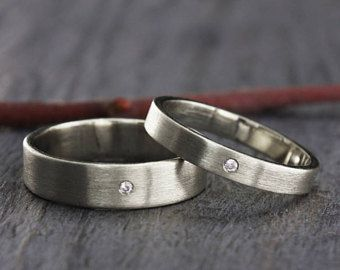 One tiny diamond ring set simple wedding rings sterling silver diamond silver wedding band set simple wedding rings his and hers wedding bands classic rings set matte wedding bands ring his and her junglespirit Images