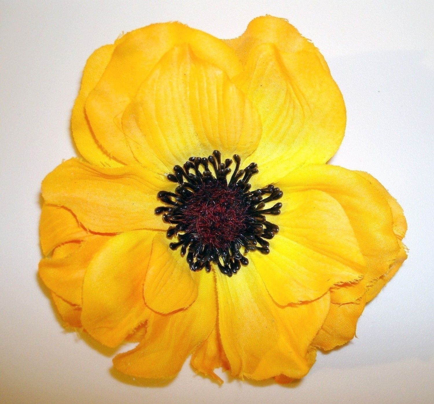 Yellow Anemone Flower Hair Clip 1940s Vintage Dance Style Fashion