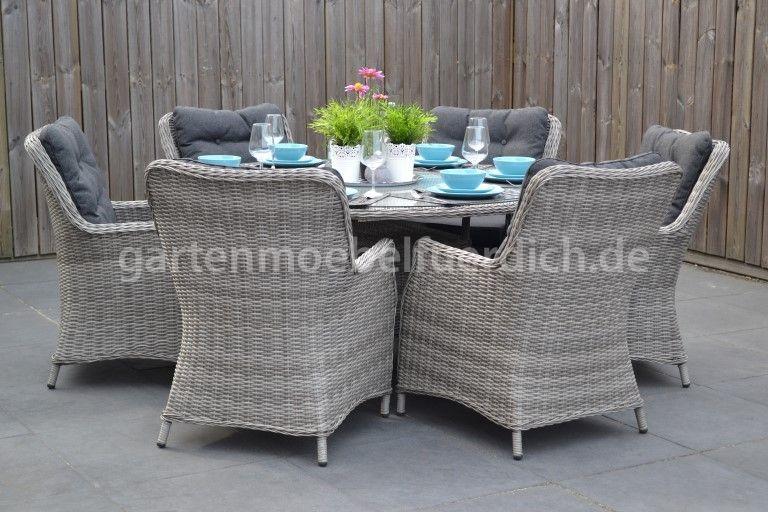 Gartentisch 150 Gerona Polyrattan Mit 6 Rimini Dining Sesseln Hellgrau Meliert Garten Mobel Fur Dich In 2021 Gartentisch Gartenmobel Polyrattan