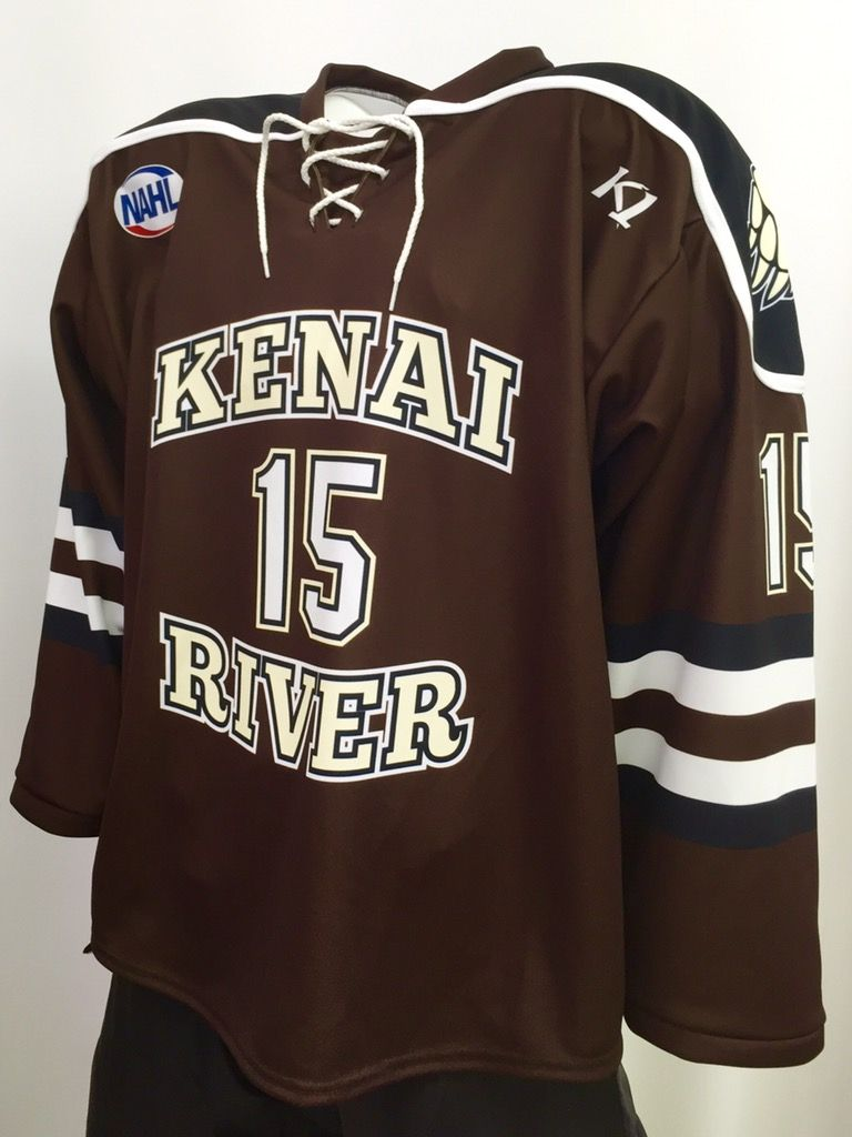 792a2f21382 Kenai River Brown Bears custom sublimated 2016-2017 hockey jersey. K1  Sportswear is a proud partner of the NAHL. Made in the USA.