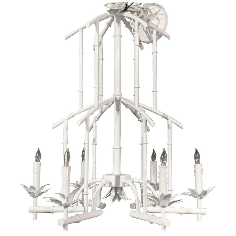 Hollywood Regency Faux Bamboo Six Light Pagoda Chandelier, in White