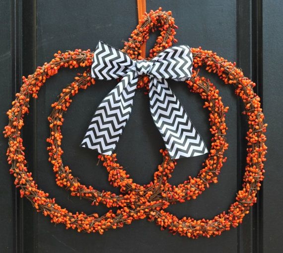 Ready To Ship!    This cute pumpkin wreath from Ever Blooming Originals © will be the talk of the neighborhood! You will not find anything