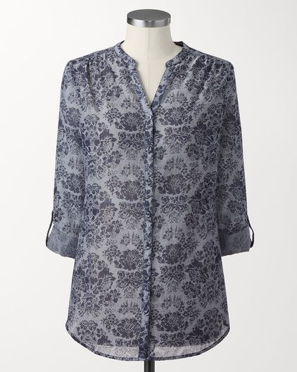Floral rolled sleeve top | Coldwater Creek Completely reminds me of Victorian wallpaper, but I still love the print anyway...or maybe because of that