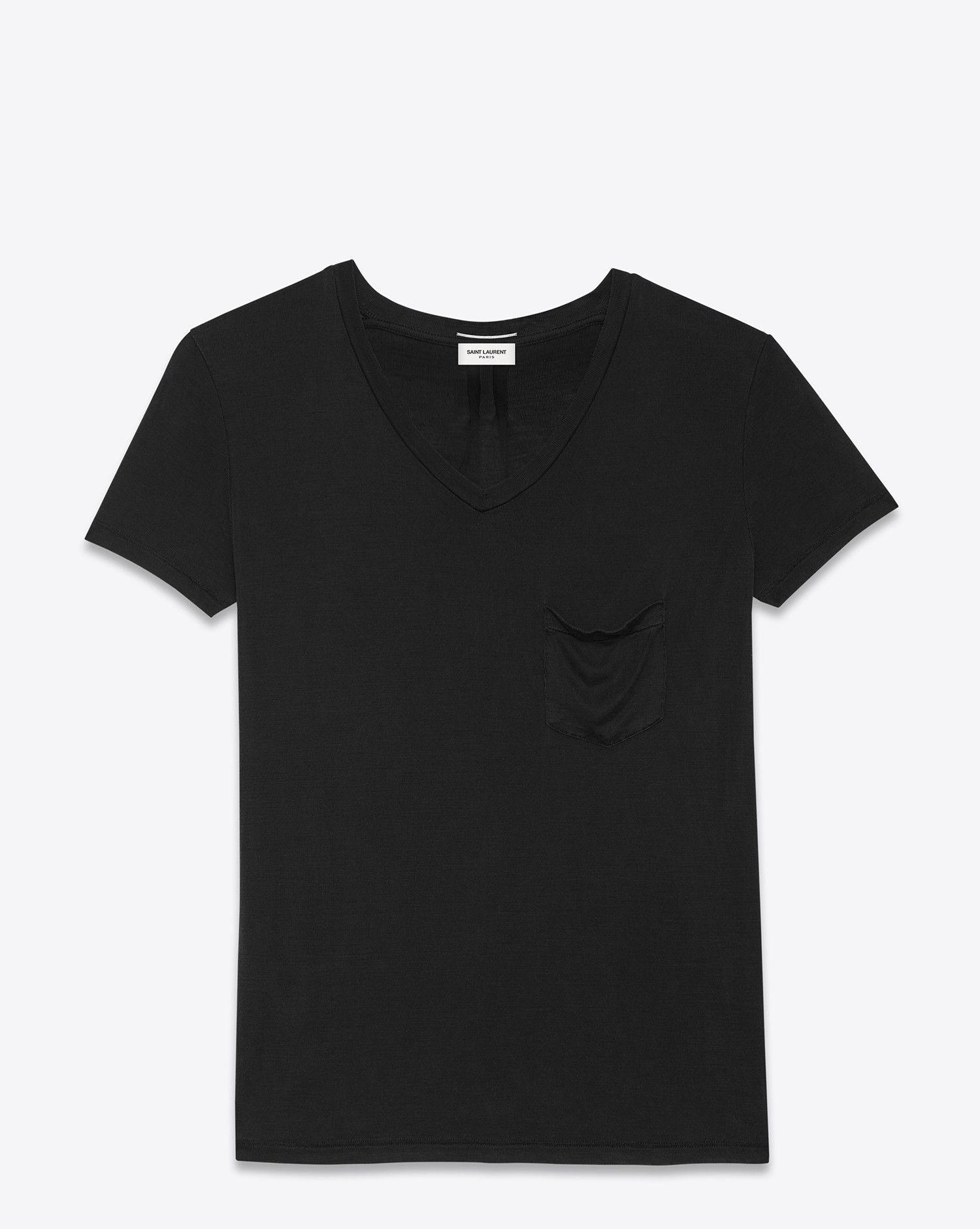 98f8460f24 Saint Laurent classic short sleeve v-neck pocket t shirt in black ...