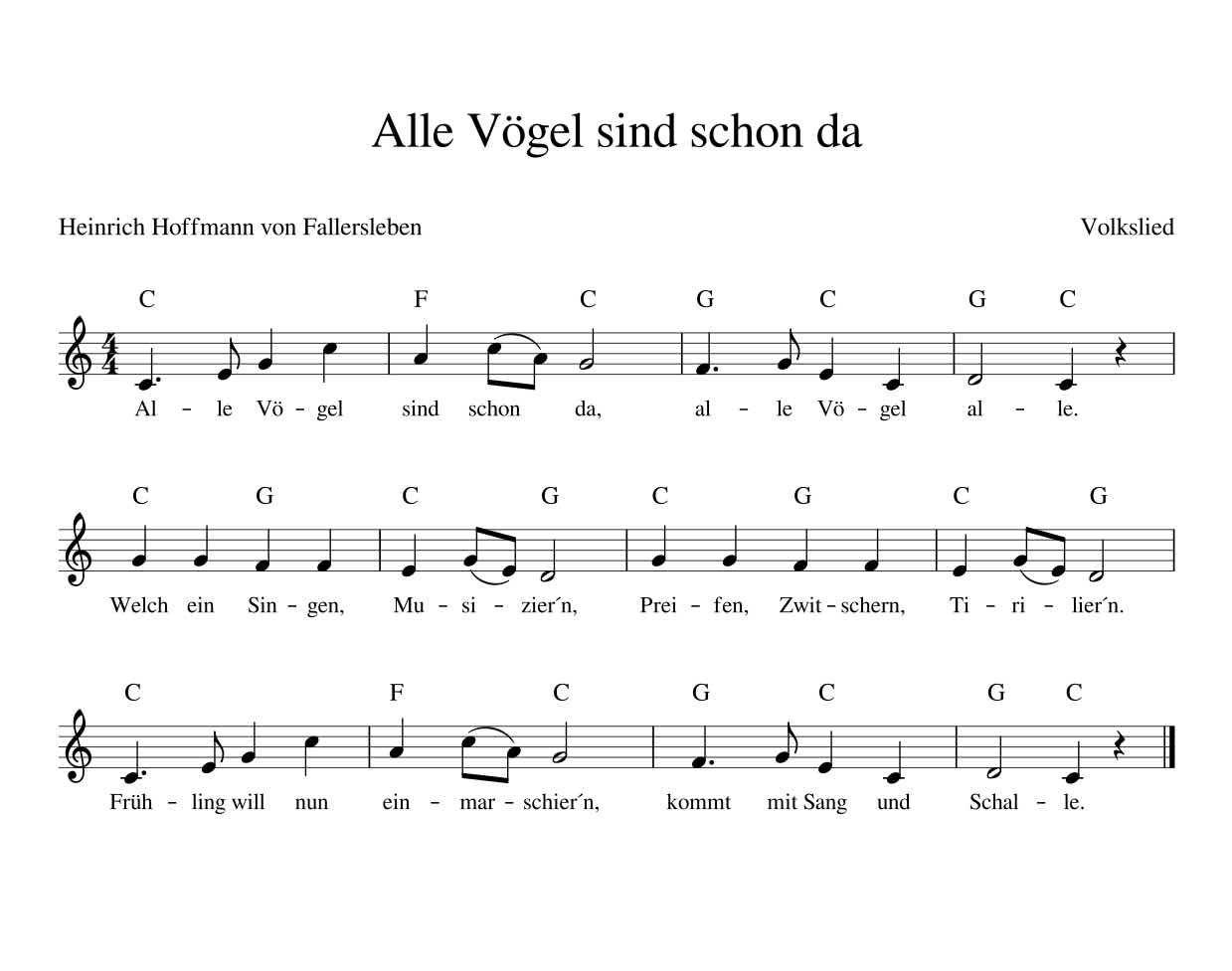 Alle Vögel sind schon da Deutsches Kinderlied mit Noten ...