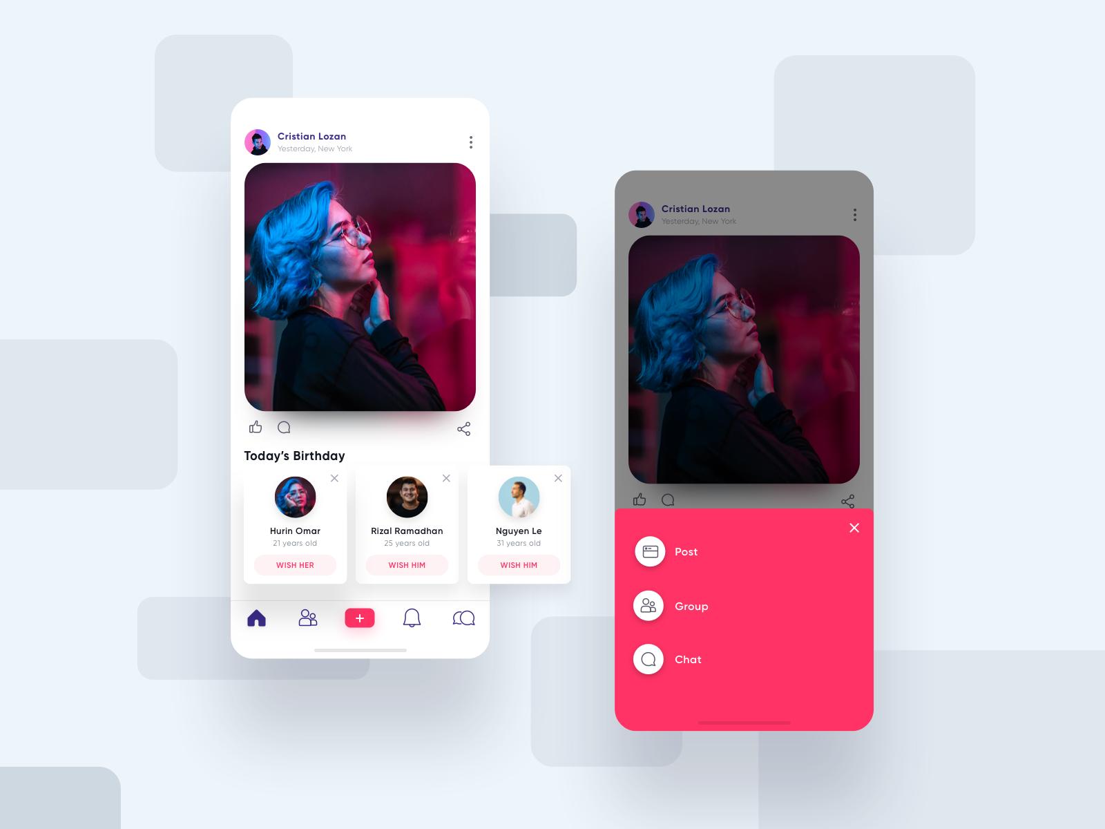 Social iOS App App design, Ios app design, Mobile app design