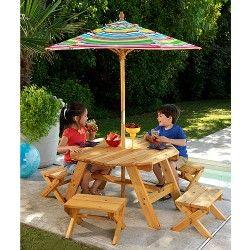 Kidkraft Children S Outdoor 6pc Wood Octagon Table Bench Umbrella