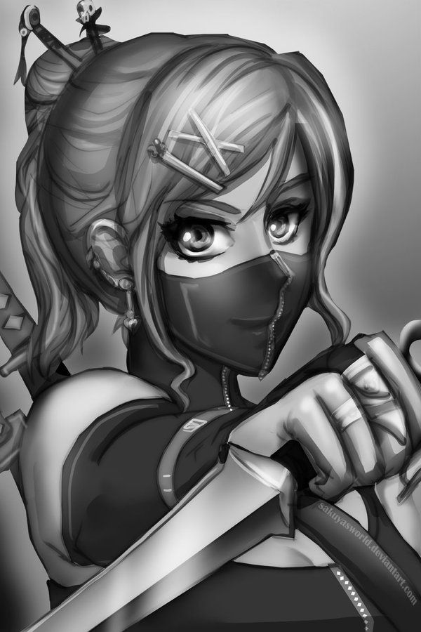Sketch Ninja Girl Ninja Girl Girl Sketch Anime Ninja