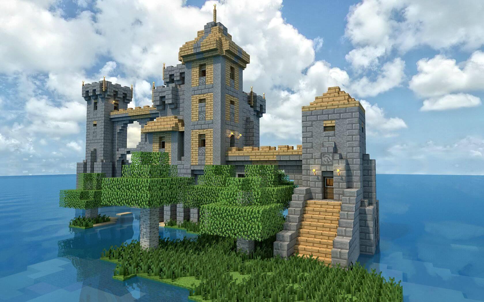 The Island Castle Wallpaper Image Chateau Minecraft Batiment Minecraft Batiments Minecraft