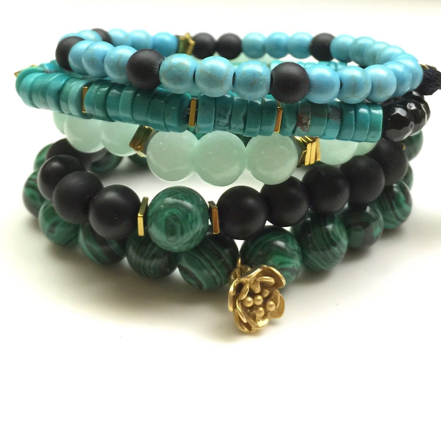 Multi Strand Beaded Stacking Bracelet featuring Malachite, Turquoise, Black Onyx, and Gold Detailing. by EtcHawaii on Etsy