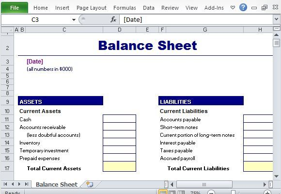 Simple Balance Sheet Maker Template for Excel Excel Templates - accounting forms in excel