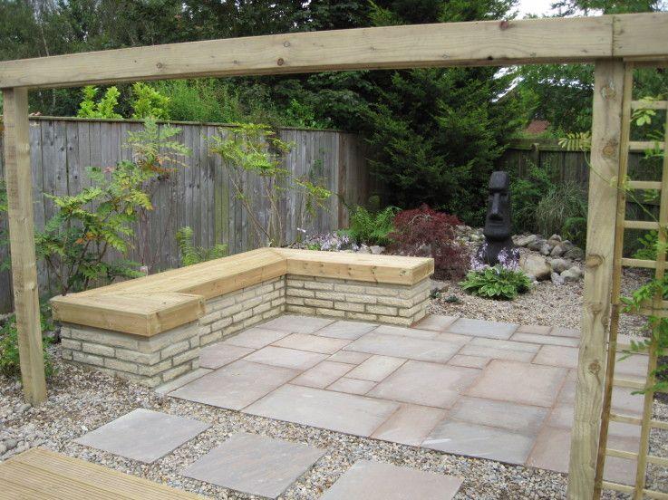 nice seating, love the tiles | Garden design, Backyard ...