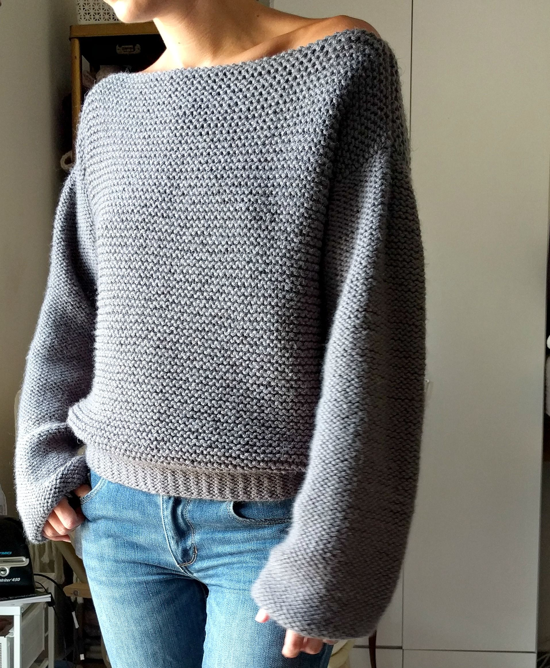 No Purls Sweater Pattern, V Back Knit Sweater Pattern, Big Slouchy ...