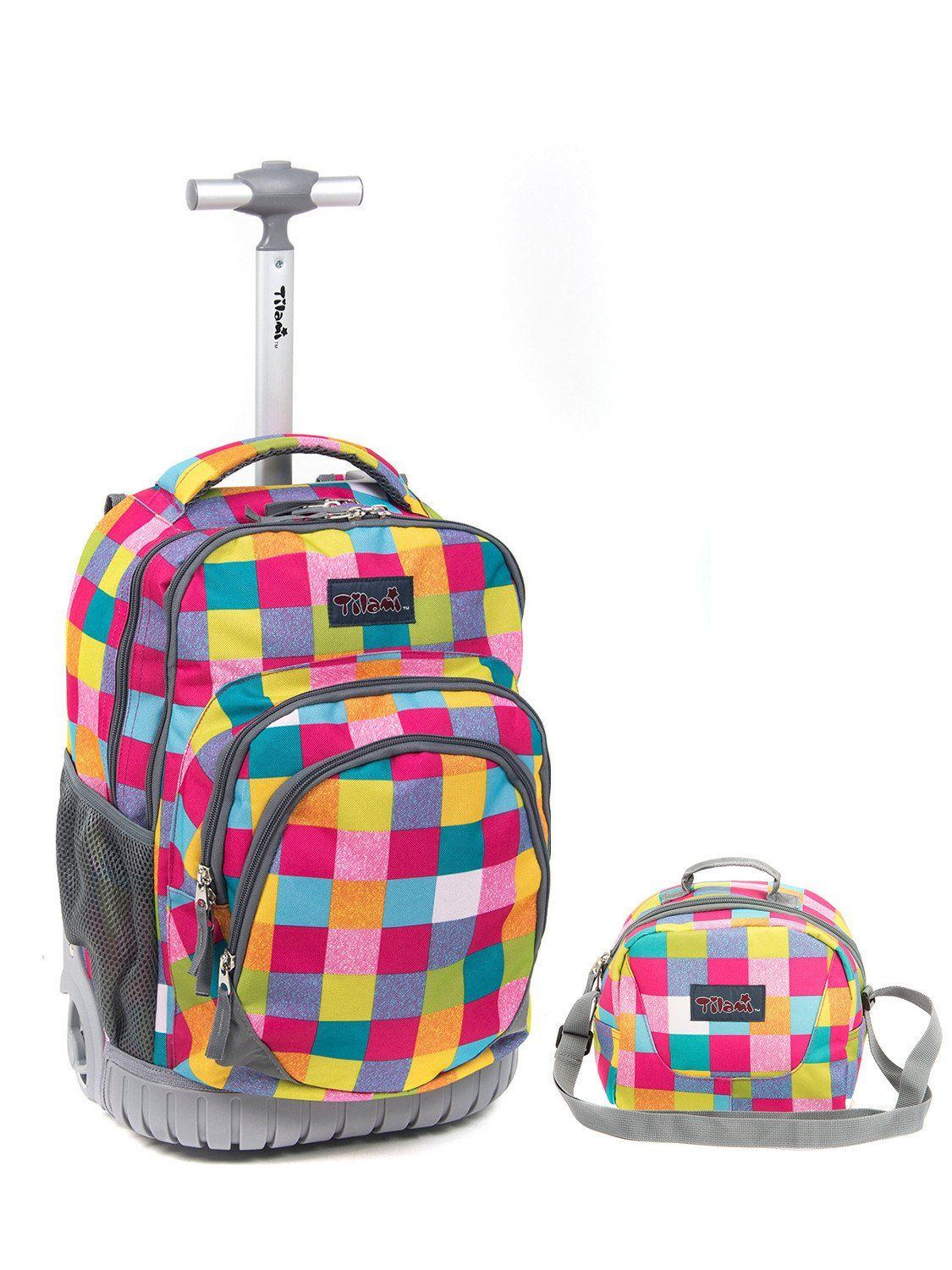 8d527a1e9c65 Tilami 18 Inch Wheeled Rolling Backpack Luggage and Lunch Bag, Red ...