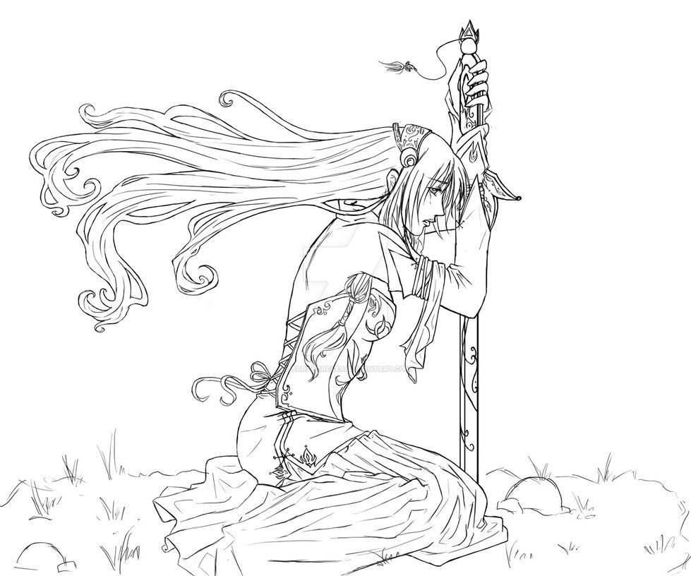 Fall To Your Knees Lineart Chibi Coloring Pages Colorful Drawings Coloring Pages For Girls