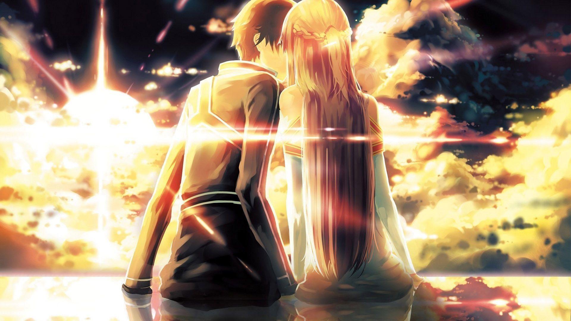Anime Couple Hd Backgrounds Free Download Latest Anime Couple Hd Backgrounds For Computer Mobil Sword Art Online Wallpaper Sword Art Online Kirito Sword Art