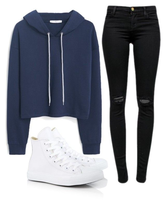 """Untitled #84"" by vantaker ❤ liked on Polyvore featuring Converse, MANGO and J Brand"