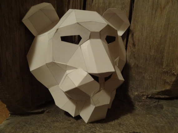 Make Your Own Lion mask from recycled paper, PDF pattern