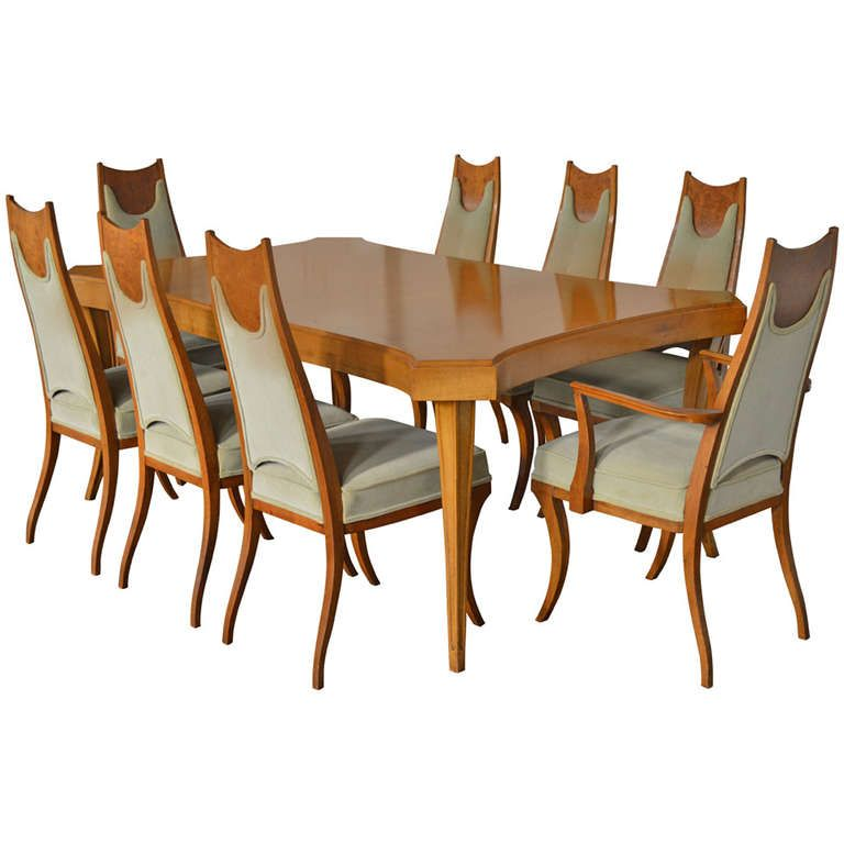 Rare Italian Sabre Leg Dining Set With Eight Chairs