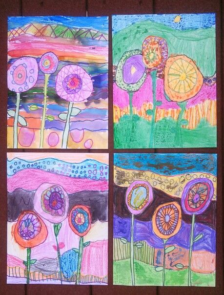 Kindergarten Abstract Flowers Drawing Sharpie Outlining