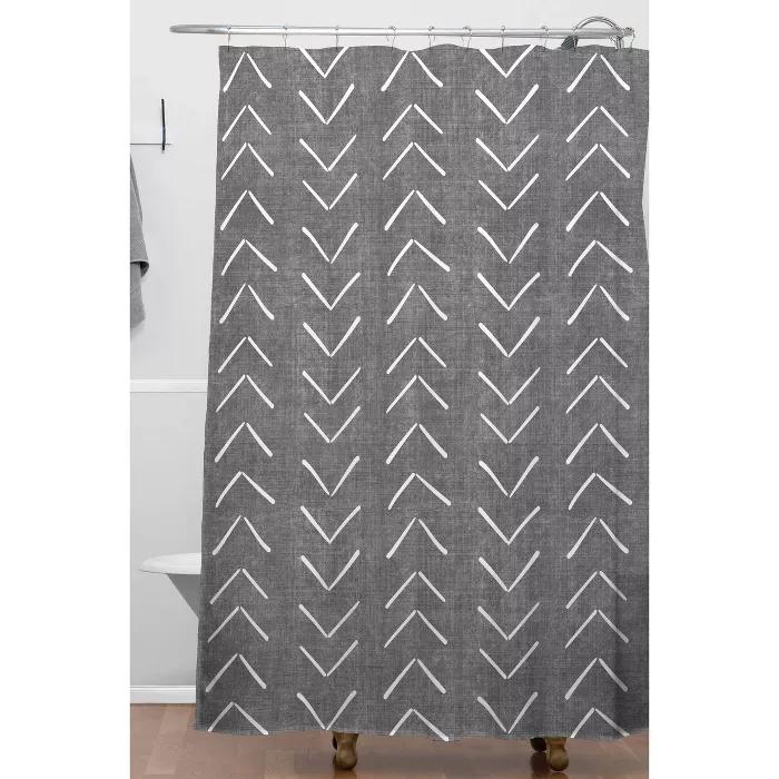 Becky Bailey Mud Cloth Big Arrows Shower Curtain Gray Deny Designs Arrow Shower Curtain Deny Designs Shower Curtain