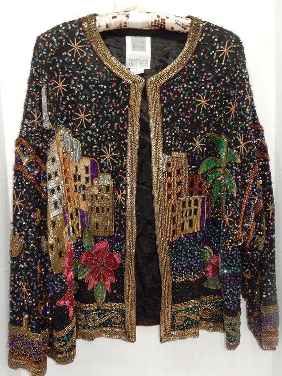 5b5ab138 Vintage Sequin Jacket Glamorous Beaded Jacket Beaded Kimono Formal Jacket  Together Jacket Christmas