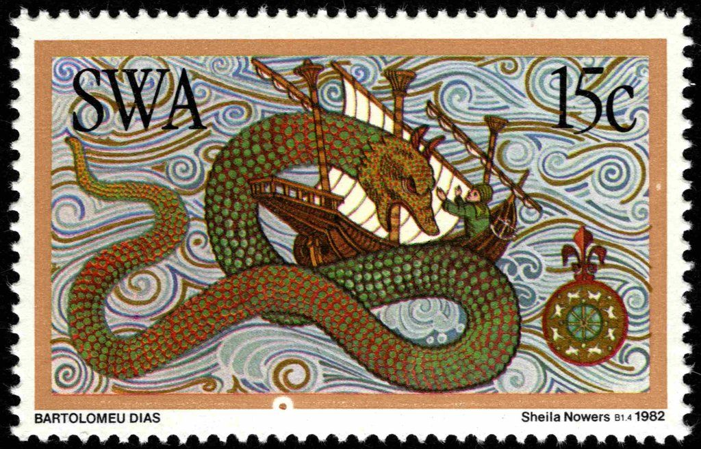 South West Africa 1982 Sea Monster Sudwestafrika Discoverers Of South West Africa Mi Na Sw 520 Sn Na Sw 491 Yt Na Sw 477 Timbre Poste Animaux