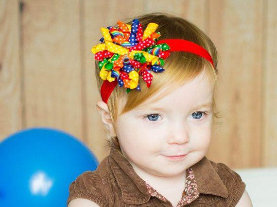 Rainbow Headband Baby Headband Korker by MommysBowCreations b6fe11a3d39