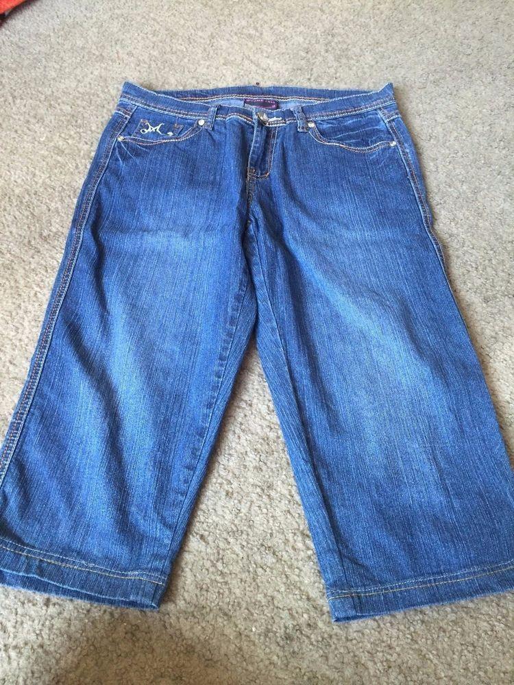 Nice women's junior's size 13 Makaveli blue denim bermuda shorts capris #Makaveli #bermudashortscapris