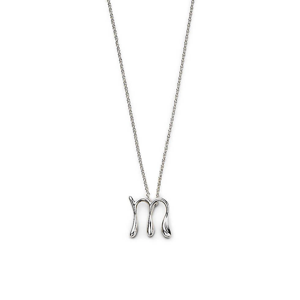 Tiffany & Co. -  Elsa Peretti® letter pendant. Sterling silver, small. Letters A-Z available.