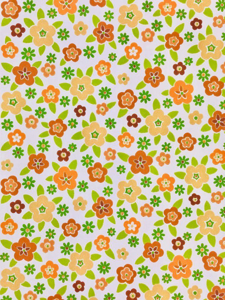 70s Funky Bloemen Behang Floral Wallpaper Wallpapers Vintage