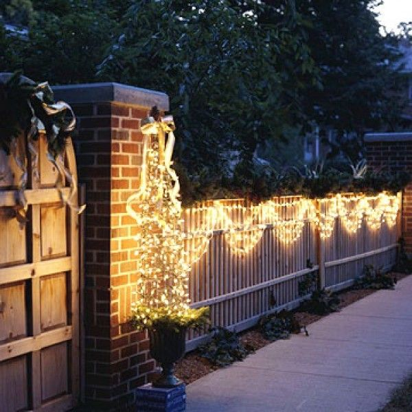 Swag Lights On Fence Outdoor Christmas Outdoor Christmas Decorations Outdoor Christmas Lights