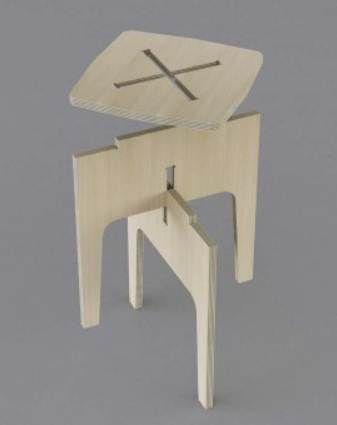 Les éléments ce superposent et s'assemblent grâce à des encoches correspondant à l'accumulation des formes.